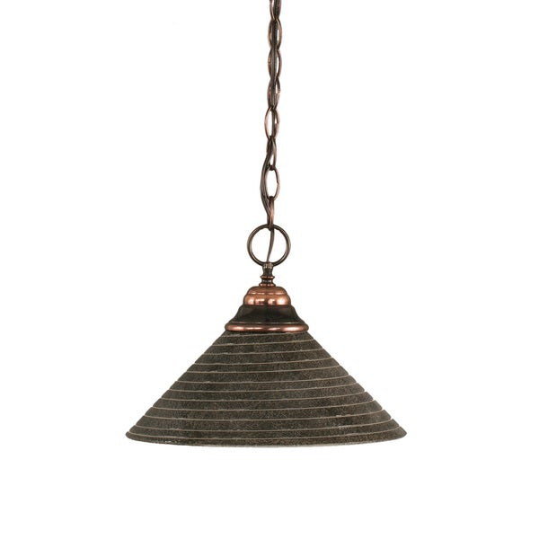 Cambridge 1-Light Black Copper 9 in. Pendant with Charcoal Spiral Glass