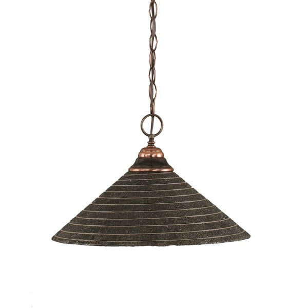Cambridge 1-Light Black Copper 9.75 in. Pendant with Charcoal Spiral Glass