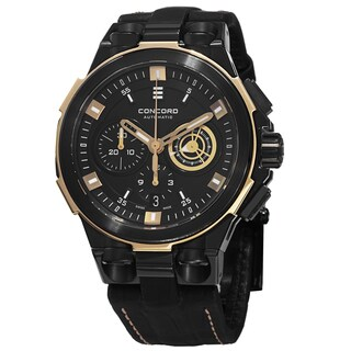 Concord Men's 0320189 'C2' Black Dial Black Leather Strap Chronograph Automatic Watch