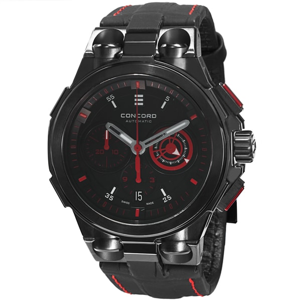 Concord Men's 0320187 'C2' Back Dial Black Leather Strap Chronograph Automatic Watch