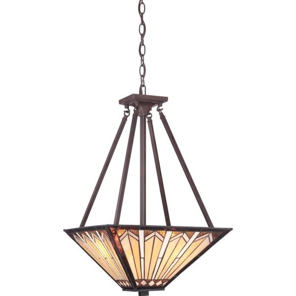 Cambridge 3-Light Russet Finish Pendant With A Tiffany Shade