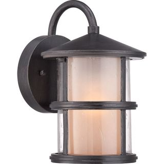 Cambridge 10 in. Espresso Finish Outdoor Wall Lantern With A Frosted Shade