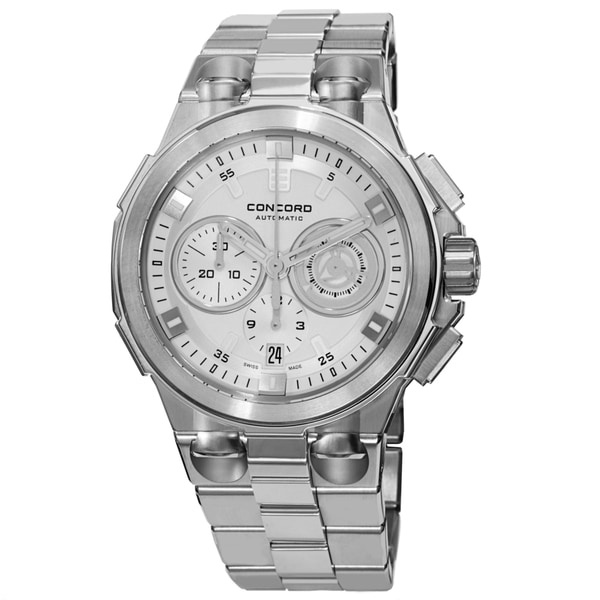 Concord Men's 0320177 'C2' Silver Dial Stainless Steel Bracelet Chronograph Automatic Watch