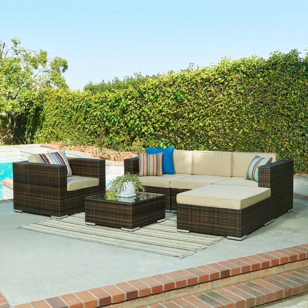 The hom aria 4 piece brown wicker patio set 17168473 for Belmont 4 piece brown wicker patio chaise lounge set