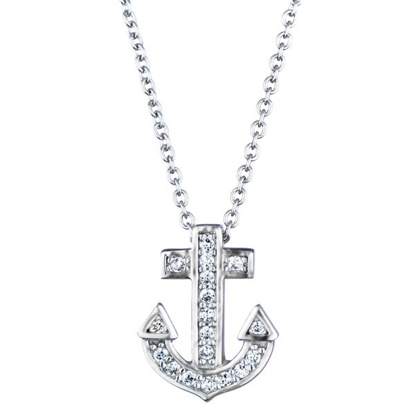 Sterling Silver Cubic Zirconia Anchor Charm Necklace