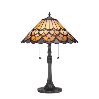 Cambridge 2-Light Vintage Bronze Finish Table Lamp With A Multi-Colored Tiffany Shade