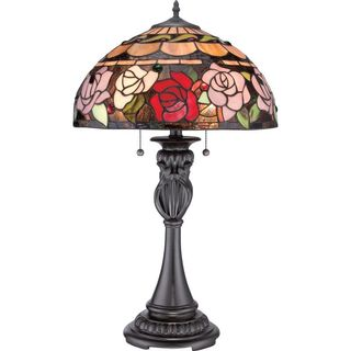 Cambridge 2-Light Vintage Bronze Finish Table Lamp With A Red And Pink Rose Tiffany Shade