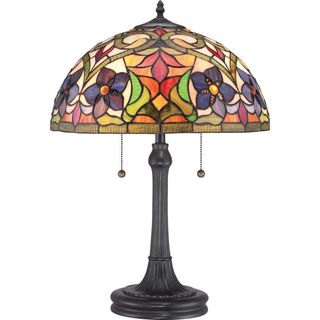Cambridge 2-Light Vintage Bronze Finish Table Lamp With A Blue Flower Tiffany Shade