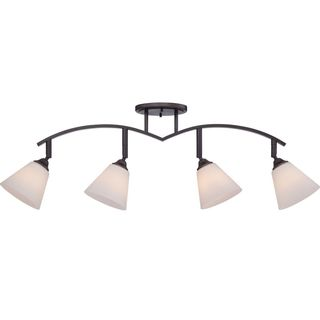 Cambridge 4-Light Palladian Bronze Finish Track Light With Opal Shades