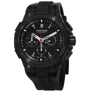 Concord Men's 0320138 'C2 Chronographe' Black Dial Black Rubber Strap Automatic Watch