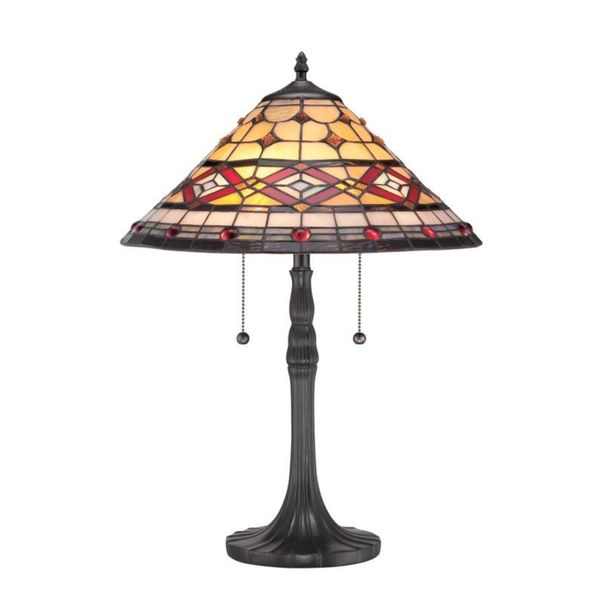 Cambridge 2-Light Vintage Bronze Finish Table Lamp With A Red And Yellow Tiffany Shade