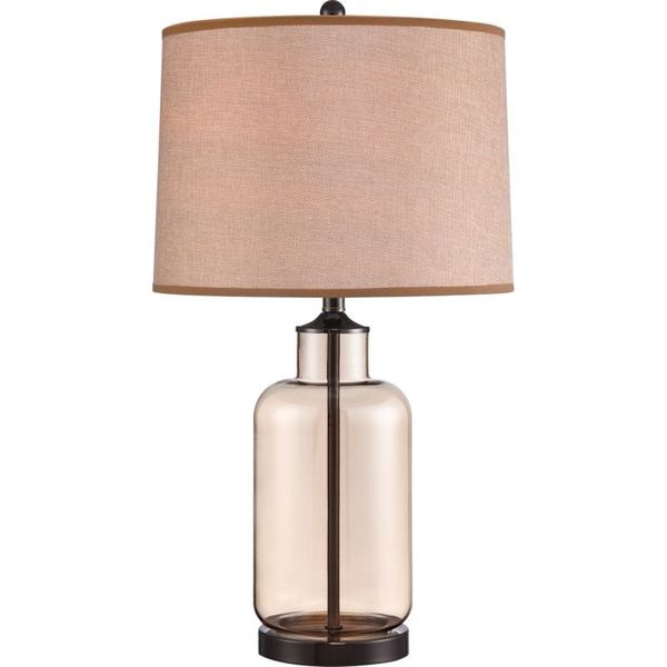 Cambridge 1-Light Black Finish Table Lamp With A Beige Shade
