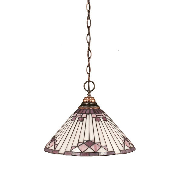 Cambridge 1-Light Black Copper 11 in. Pendant with Purple Sunray Glass