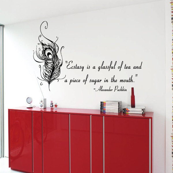 Bird Feather Ecstasy by Pushkin quote Sticker Vinyl Wall Art