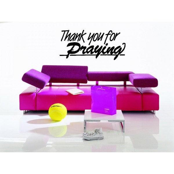 Thank you for Praying Quote Sticker Vinyl Wall Art