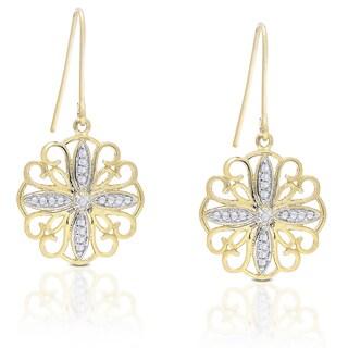 Finesque Gold Overlay Diamond Accent Filigree Dangle Earrings