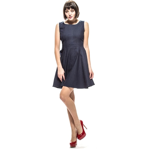 Amelia Women's Blue Denim Fit-and-Flare Dress