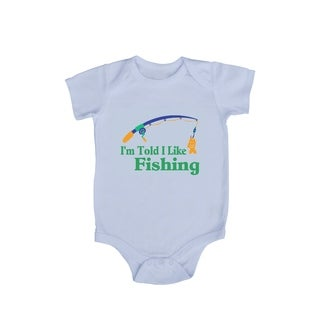 "Rocket Bug ""I'm Told I Like Fishing"" Baby Bodysuit"