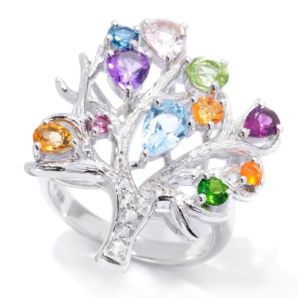 2.21ctw Multi Gemstone Tree of Life Ring