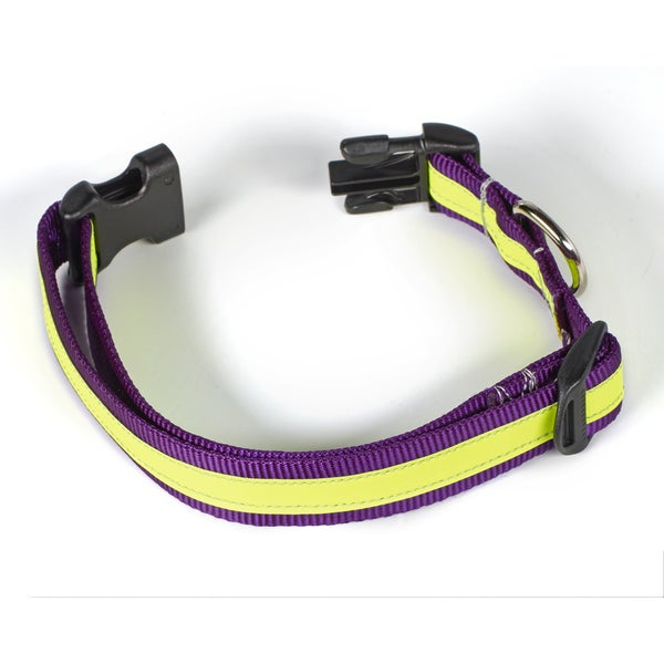 Petflect Purple/Yellow Reflective AdventurePlay Collar
