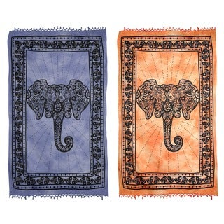Lucky Elephant Cotton Tapestry (India)