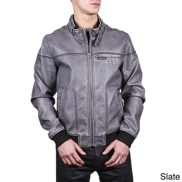 Men's Distressed PU Leather Bomber Jacket Slate-2XL (As Is Item)