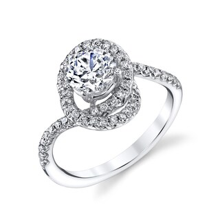 14K White Gold 1 1/2ct TDW Round Swirl Diamond Engagement Ring (H-I, I1-I2)