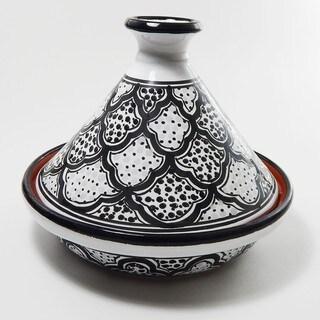 Le Souk Ceramique Black and White Honey Design 9-inch Cookable Tagine (Tunisia)