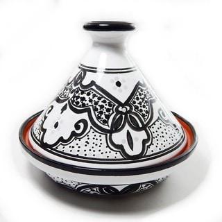 Le Souk Ceramique Black and White Sabrine Pattern 9-inch Cookable Tagine