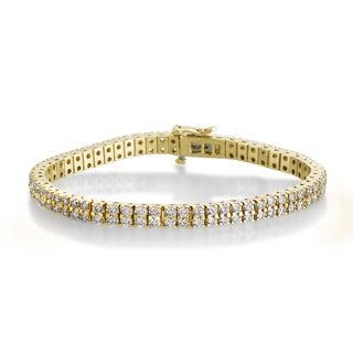 SummerRose 14k Yellow Gold 5ct TDW Diamond 2-row Tennis Bracelet (H-I, SI1-SI2)