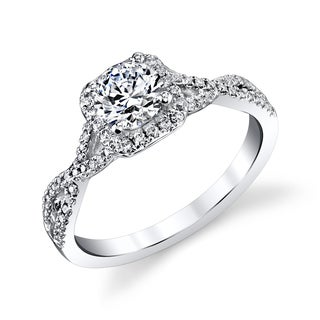 14k White Gold 3/4ct TDW Infinity Twist Round Diamond Engagement Ring