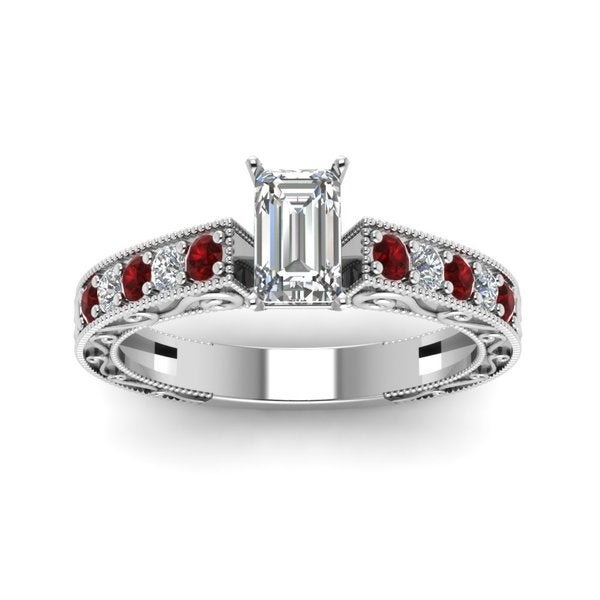 14k White Gold 7/8ct TDW Emerald Diamond and Ruby Ring by Fascinating Diamonds (G-H, VSI1-VSI2)
