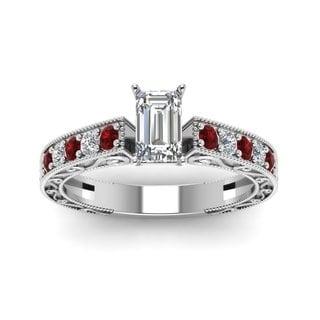 Fascinating Diamonds 14k White Gold 5/8ct TDW Emerald Diamond and Ruby Ring (G-H, VSI1-VSI2)
