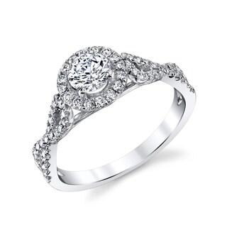 14k White Gold 7/8ct TDW Round Halo Braided Diamond Engagement Ring