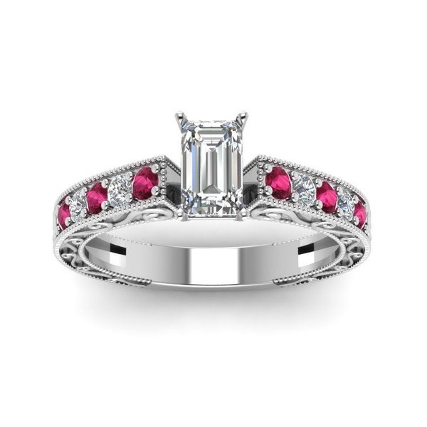 14k White Gold 5/8ct TDW Emerald Diamond Pink Sapphire Antique Engagement Ring by Fascinating Diamonds (F-G, VS1-VS2, GIA)