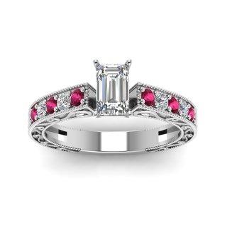 Fascinating Diamonds 14k White Gold 5/8ct TDW Emerald Diamond Pink Sapphire Ring (F-G, VS1-VS2)