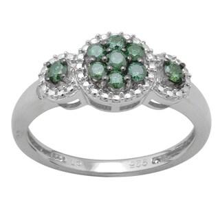 Sterling Silver 1/3ct TDW Green Diamond Ring
