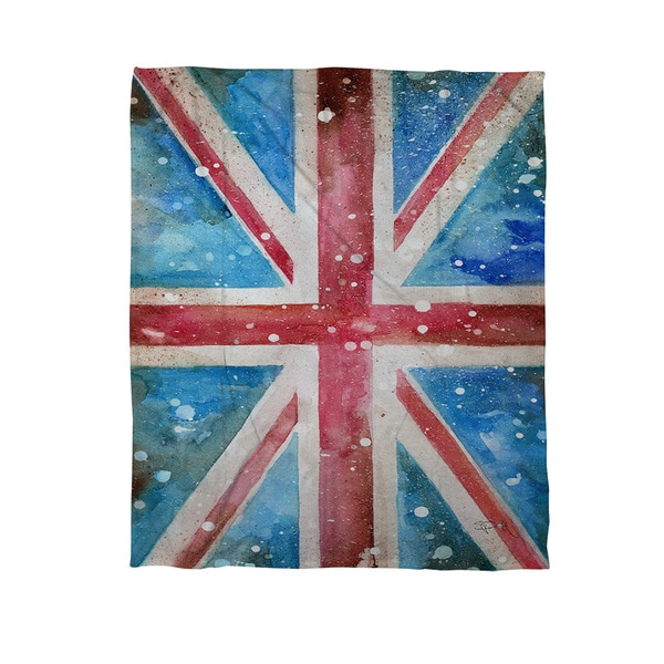 Thumbprintz Union Jack Coral Fleece Throw