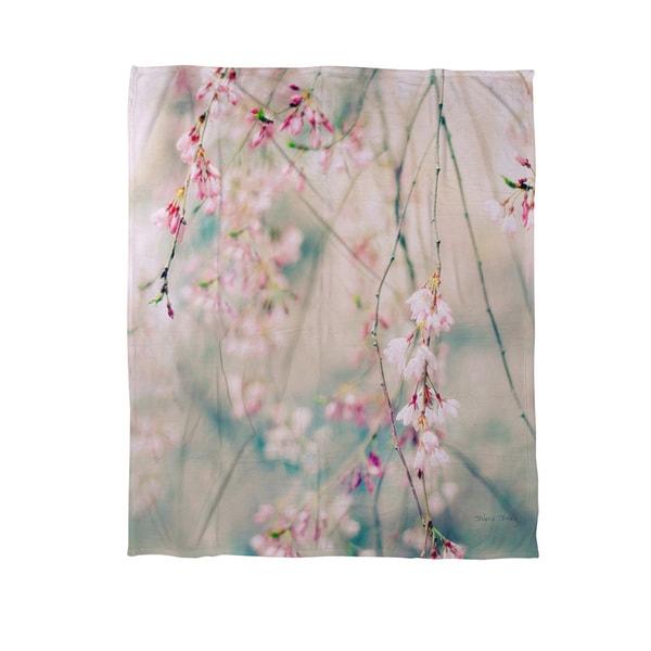 Thumbprintz Weeping Cherry Blossoms Coral Fleece Throw
