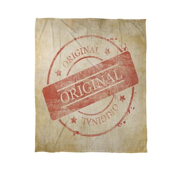 Thumbprintz Stamp Original Coral Fleece Throw
