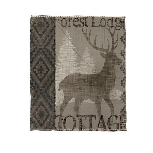 Thumbprintz Winter Lodge Deer Coral Fleece Throw