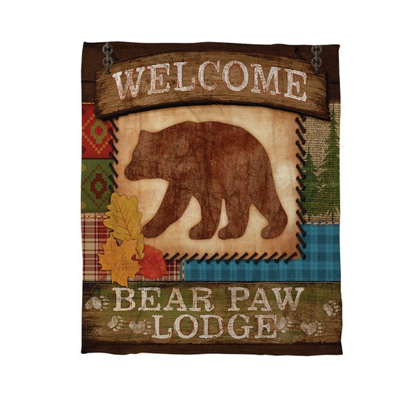 Thumbprintz Welcome Bear Paw Lodge Coral Fleece Throw