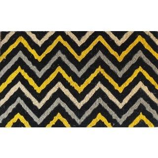 Yellow and Black Decorative Chevron Doormat