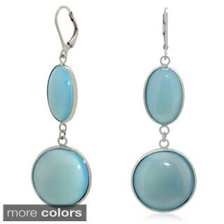 Sterling Silver Double Gemstone Dangle Earrings