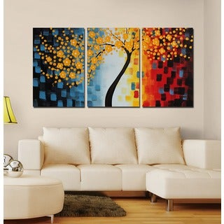 Design Art 'Multi-Color Tree Canvas Painting' Canvas Art (Set of 3)