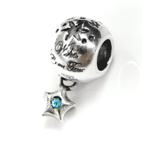 Queenberry Sterling Silver Wishes Came True Round Dangle Star with Blue Cubic Zirconia European Bead Charm