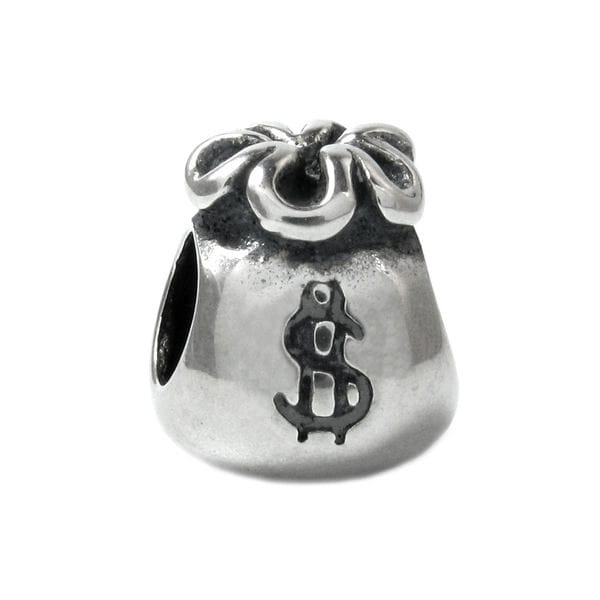 Queenberry Sterling Silver Money Dollar Bag European Bead Charm