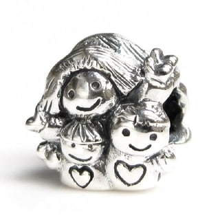 Queenberry Sterling Silver Happy Family Mother with Kids European Bead Charm