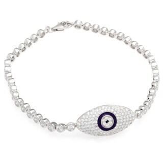 Sterling Silver Cubic Zirconia Purple Evil Eye Charm Bracelet