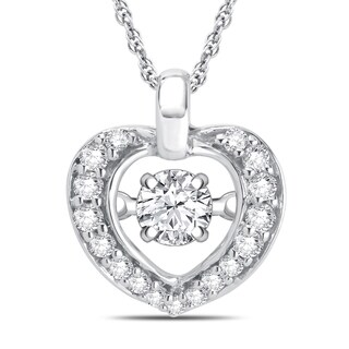 Sterling Silver Dancing Diamond Accent Heart Necklace (I-J, I3)